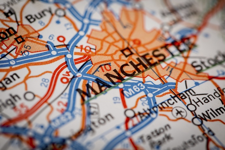 Map Photography: Manchester City on a Road Map