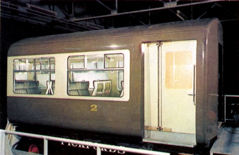 'Coach of the Future' Second class saloon in the colour scheme of beige and off-white to match locomotive D1000