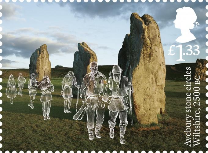 AB Avebury stone circles stamp 400%