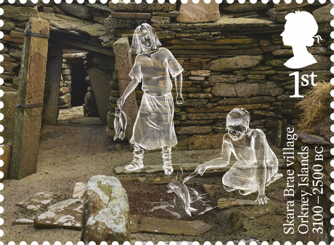 AB Skara Brae village stamp 400%