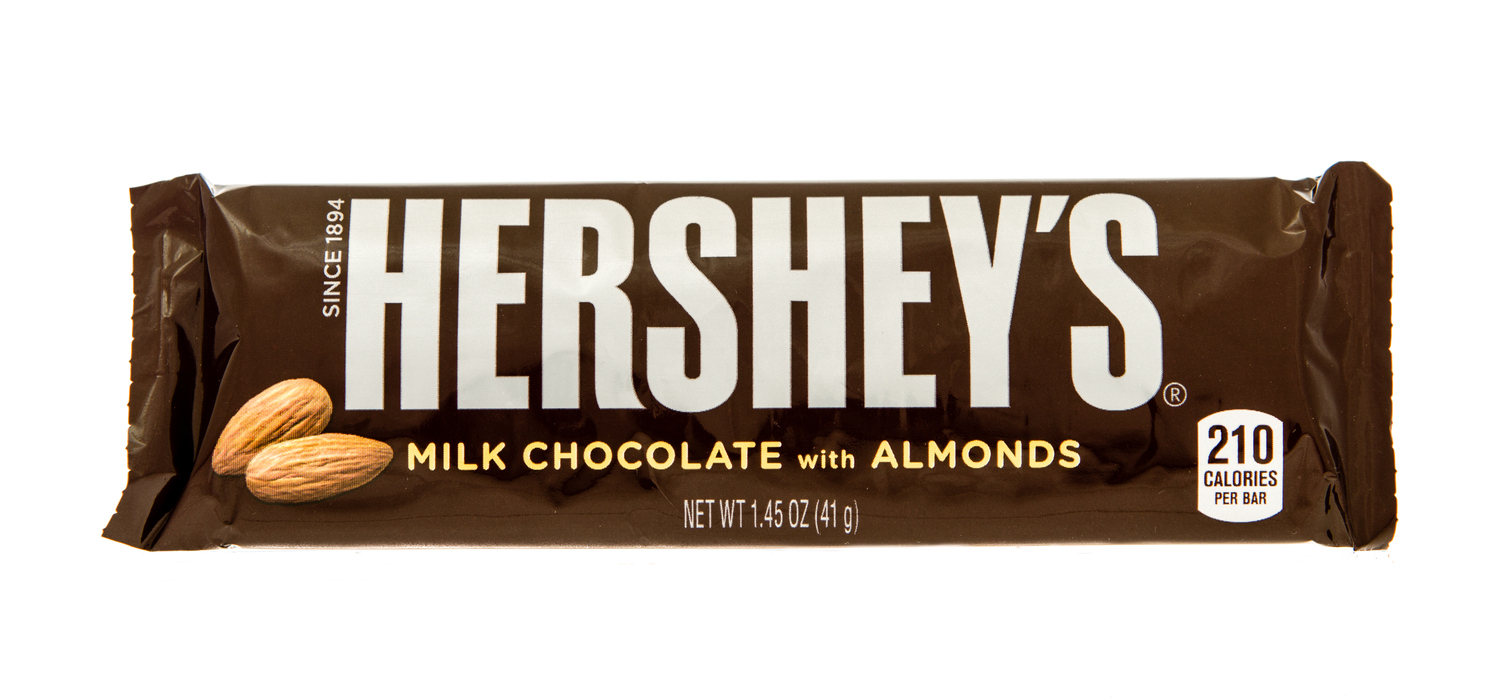 Winneconne, WI, USA -29 Oct 2015: Hersheys chocolate bar with almonds on an isolated backgound