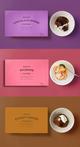 Booths pudding range branding and packaging, by Smith&+Village
