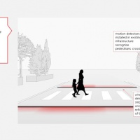 A pedestrian crossing that lights up to reduce accidents