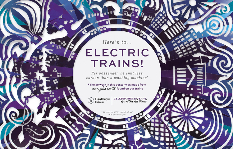 Heathrow Express' new posters feature illustrations made from train rubbish