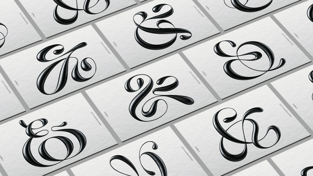 Image of various ampersand business cards for &Walsh by Jessica Walsh for each of their customers.