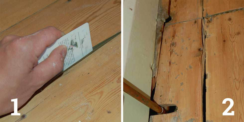 Use Gapseal to create a V shaped barrier between the floorboards; Fill in bigger gaps with new wood