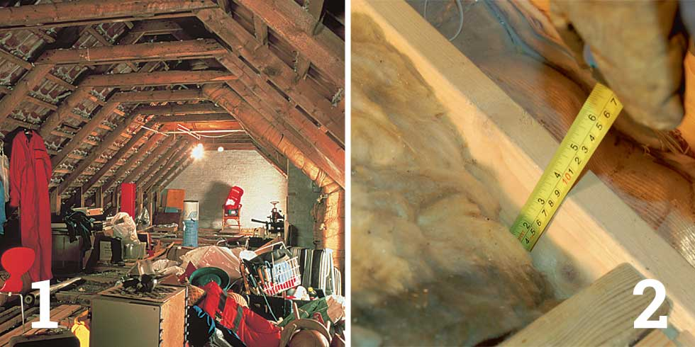 Clear out the loft; Measure the depth of existing insulation