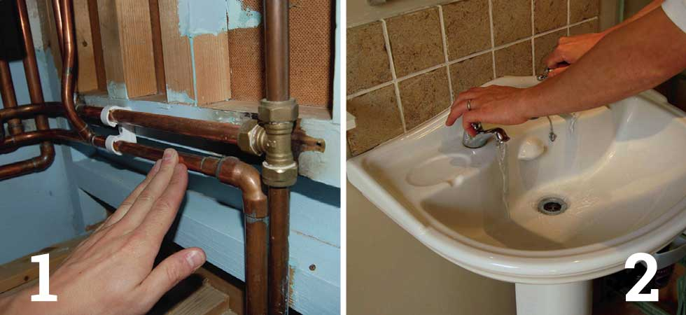 Check which pipe is hot and which is cold water supply; Turn off the water and drain away water in the pipes