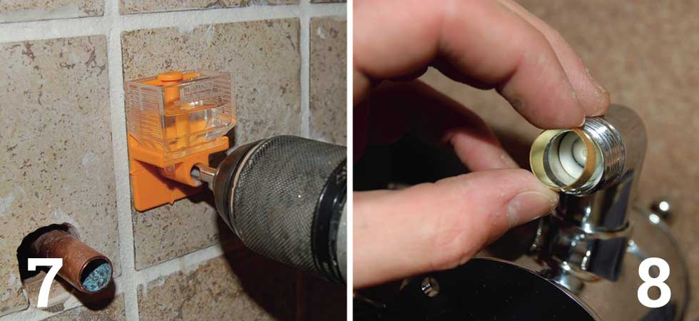 Mark off and drill the holes for the thermostatic valve; Put a collapsible olive into each inlet on the thermostatic shower valve