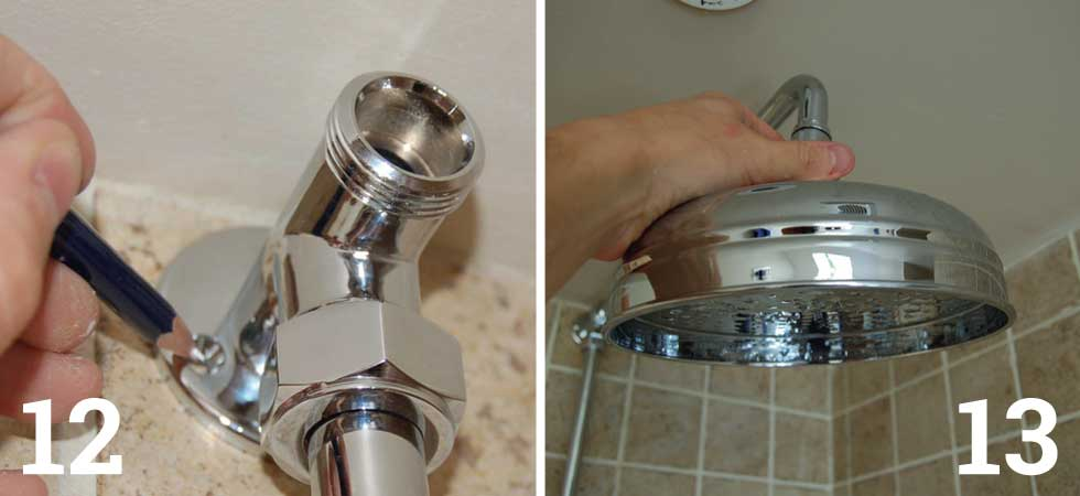 Trial fit the riser pipe between the valve and bracket; Fully fit the riser and tighten the nuts top and bottom