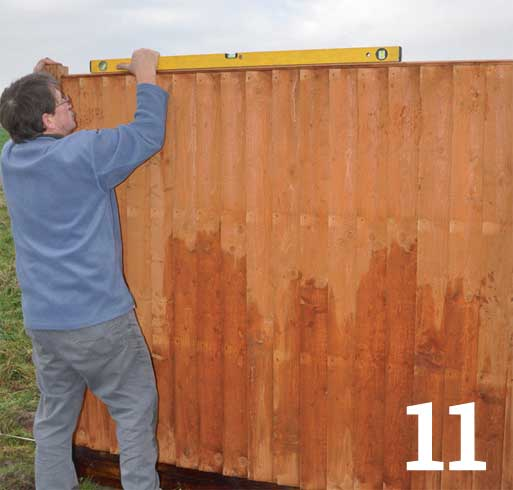 Use a spirit level to check the fence panel is level