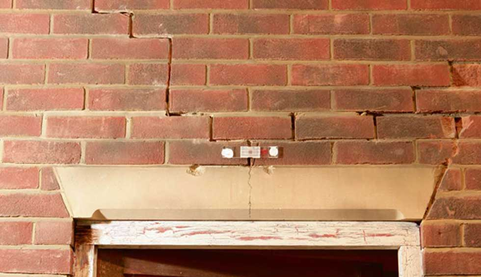 Brick subsidence above a doorway