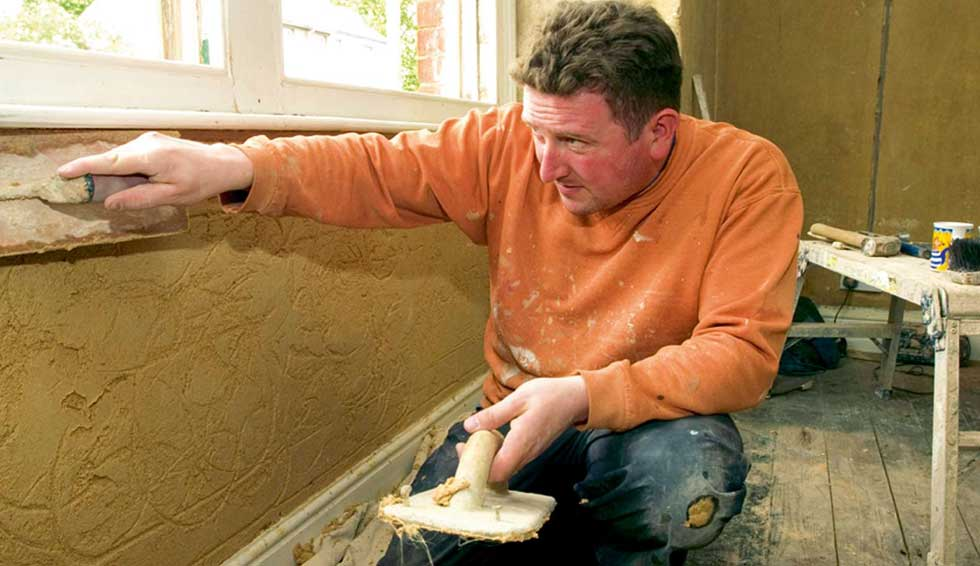Plastering under a window cill