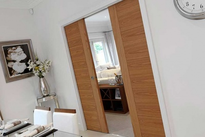 River Oak Tigris Pocket Door