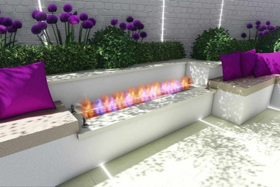 iecho purple flowers fire white stone seating