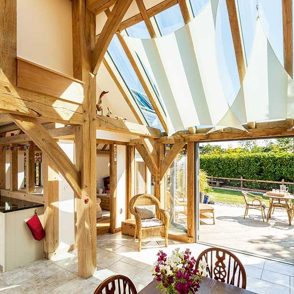 oak frame kitchen with glazed roof