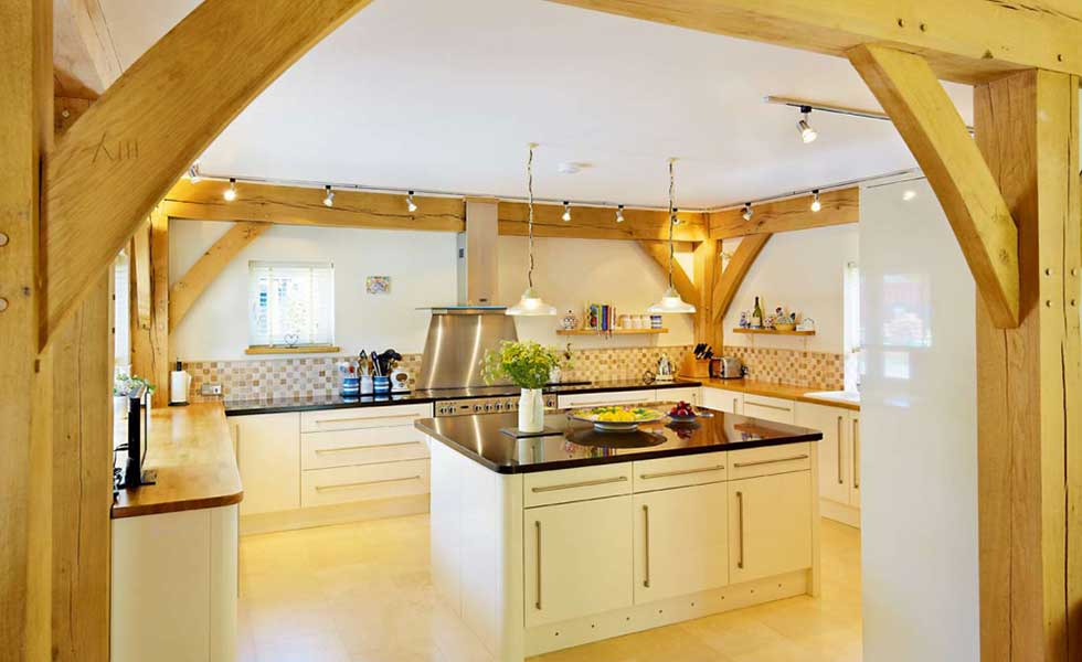 traditional country style kitchen in a Cambridgeshire self build with oak beams