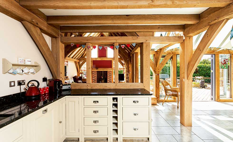 timber frame country style kitchen with granite worktops