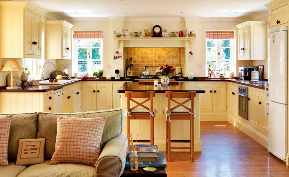 traditional gingham country cottage kitchen