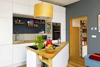 Kitchen in a DIY self build in Brighton