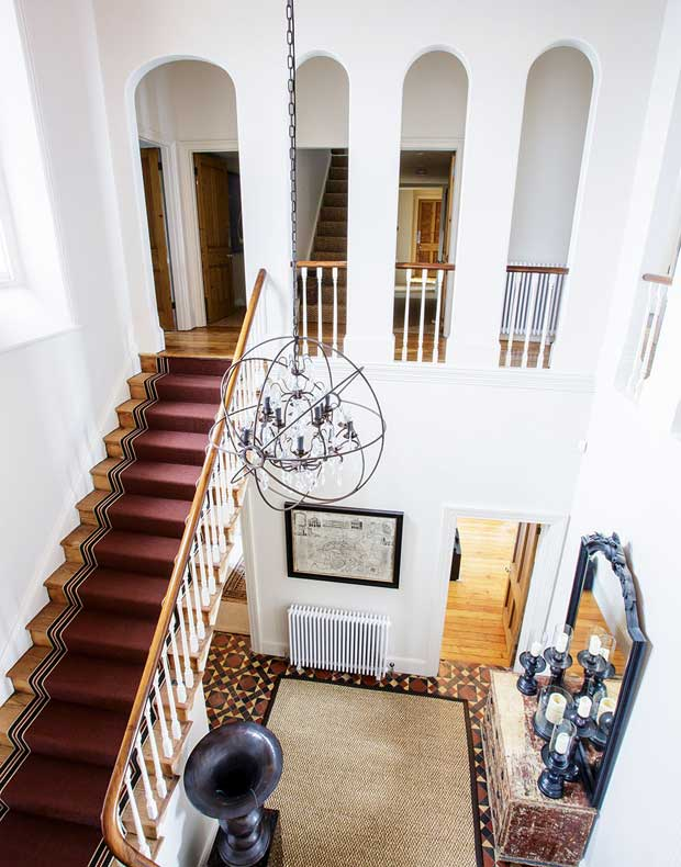 The staircase viewed from the gallery