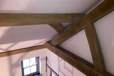 Exposed wooden ceiling beams