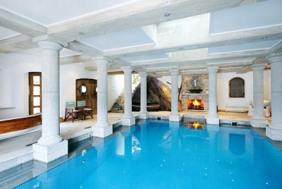 swimming pool in a cliff face home in Devon