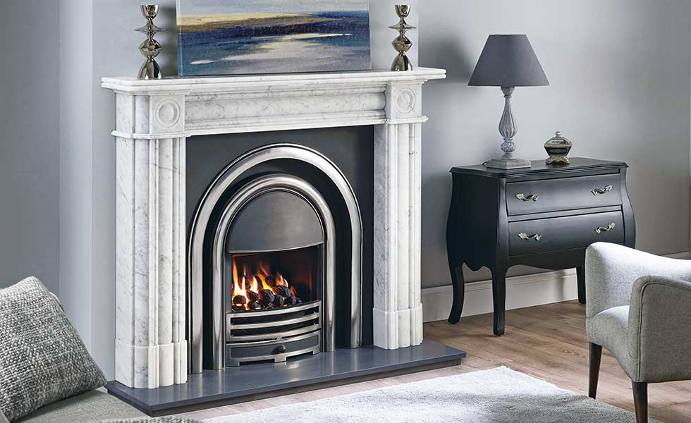 "The Regent 57"" marble fireplace in Carrara marble from Capital Fireplaces"