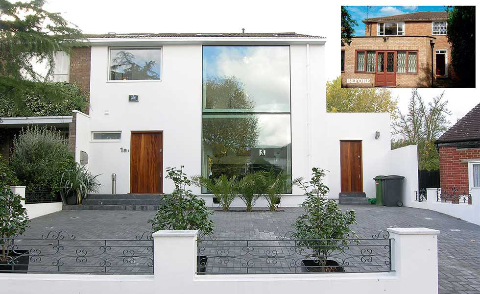 This remodel has seen the red brick façade clad in white render