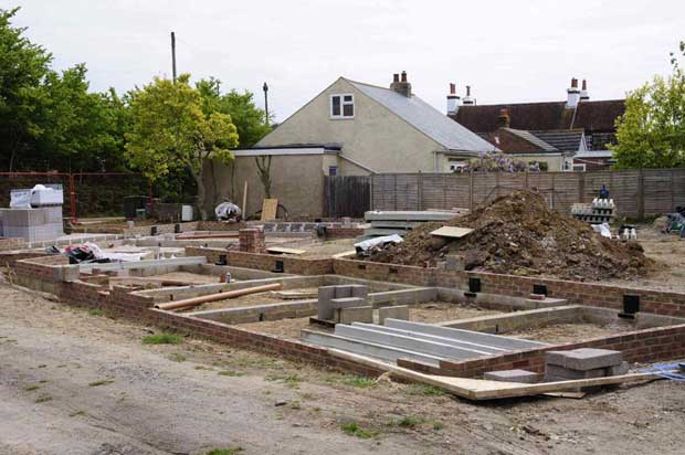 The foundations ready for the block and beam floors