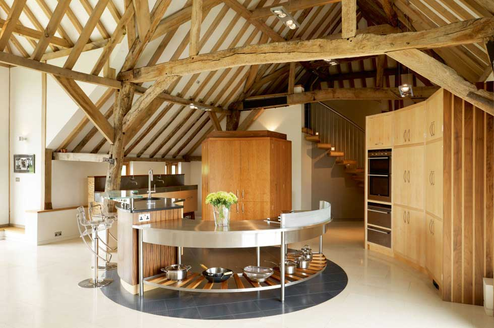 Kitchen In A Barn Conversion With Round Central Island Part 6