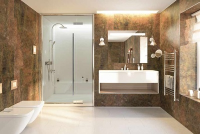 Multipanel classic range brown wall panelling two toilets