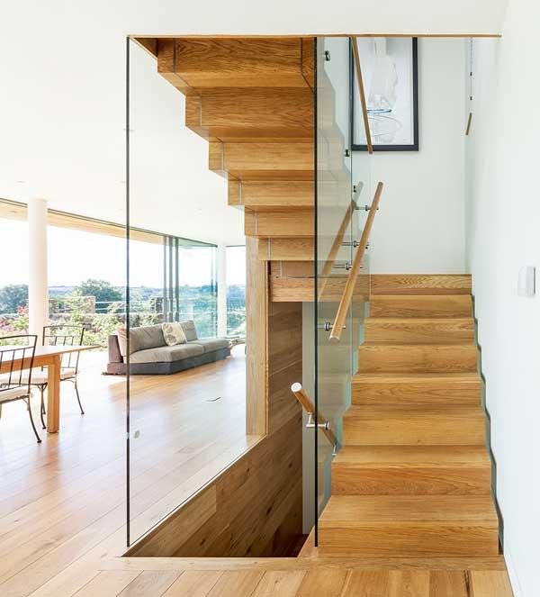 Internal glazing around a staircase