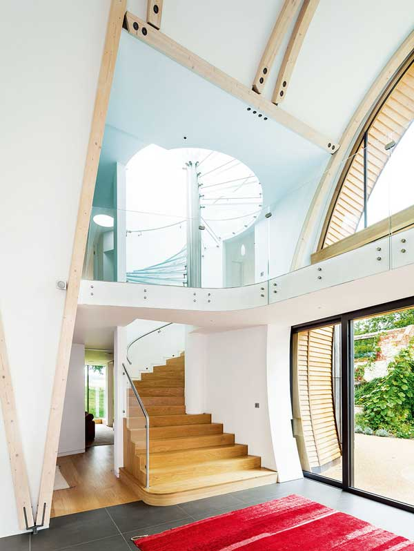 Dramatic double-height entrance hall with barelled ceiling