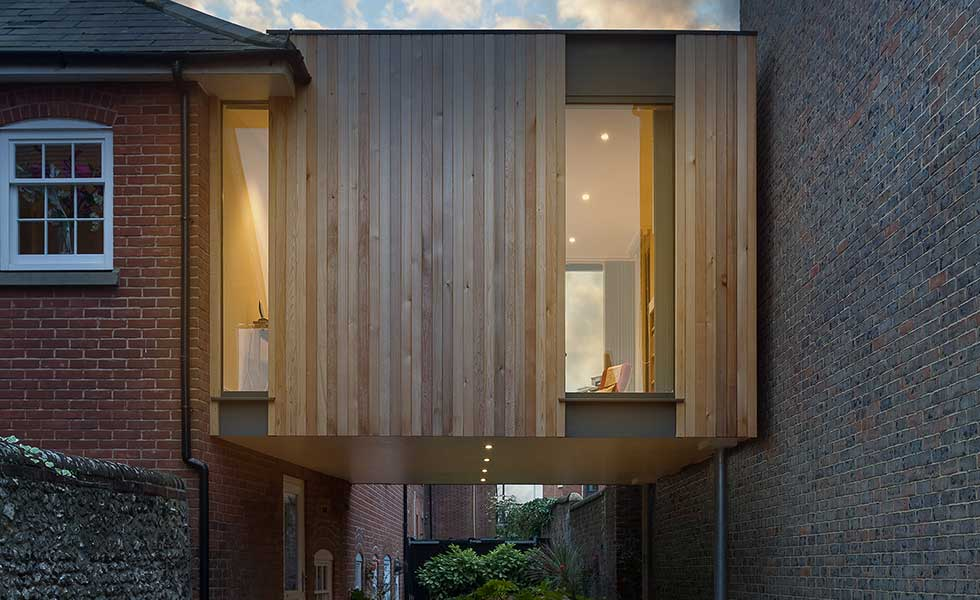 cantilievered timber second storey extension