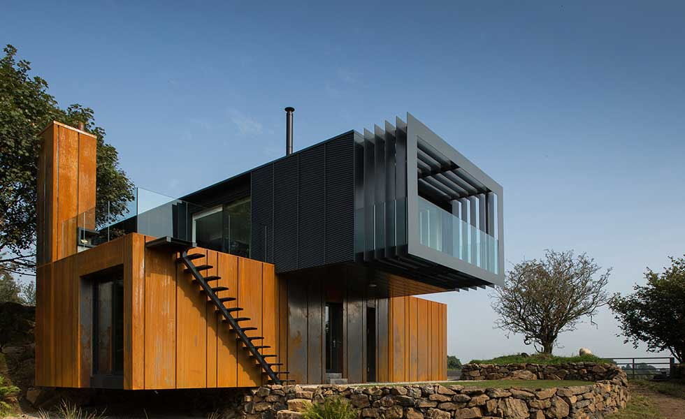 shipping container two storey home with cantilever in Northern Ireland