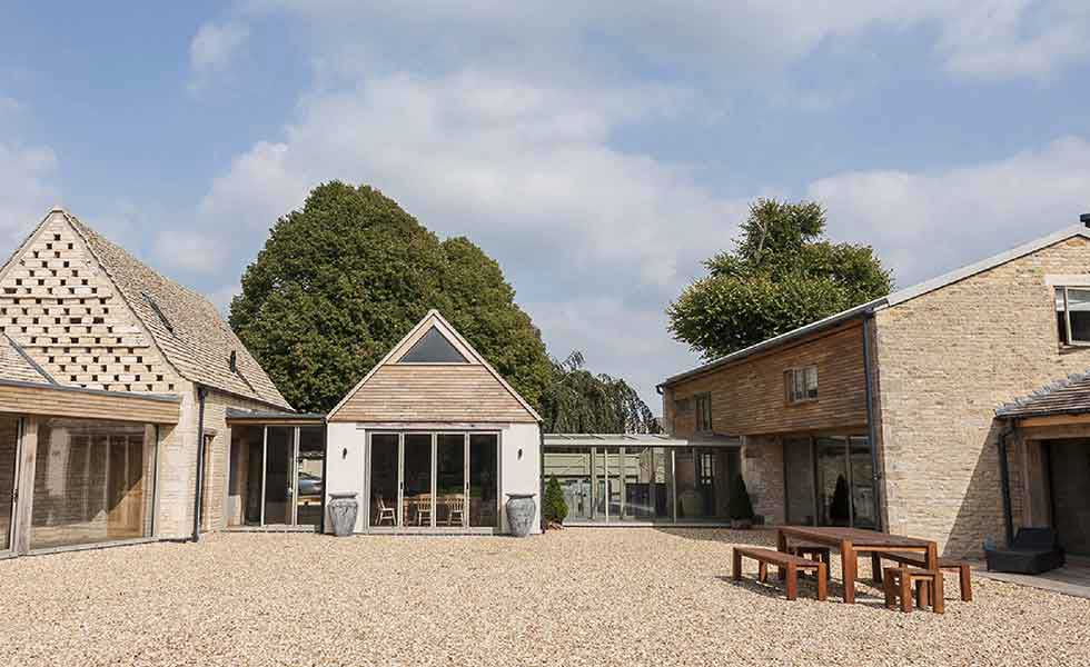 converted barns and farm buildings become family home