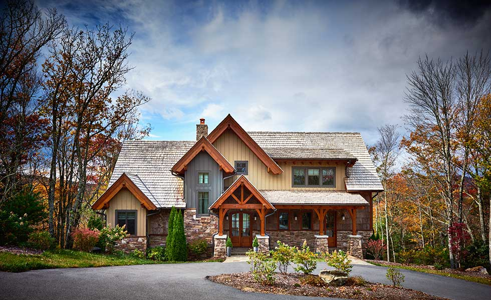 stone and timber american home in the mountains
