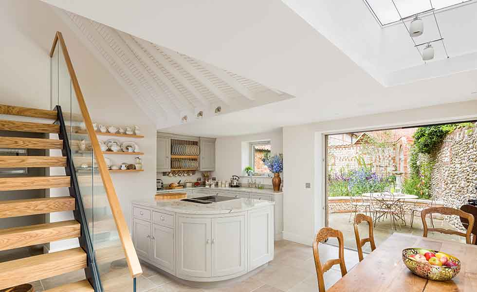 open plan kitchen diner in a contemporary extension to a grade II-listed home