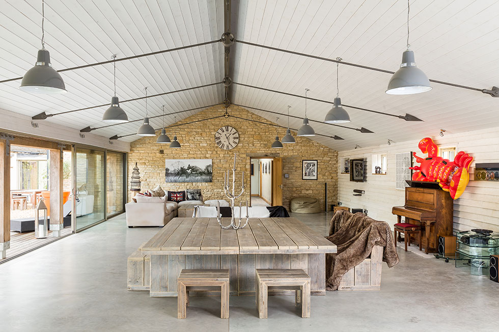The large open plan accommodation in the barn conversion benefits from a vaulted ceiling