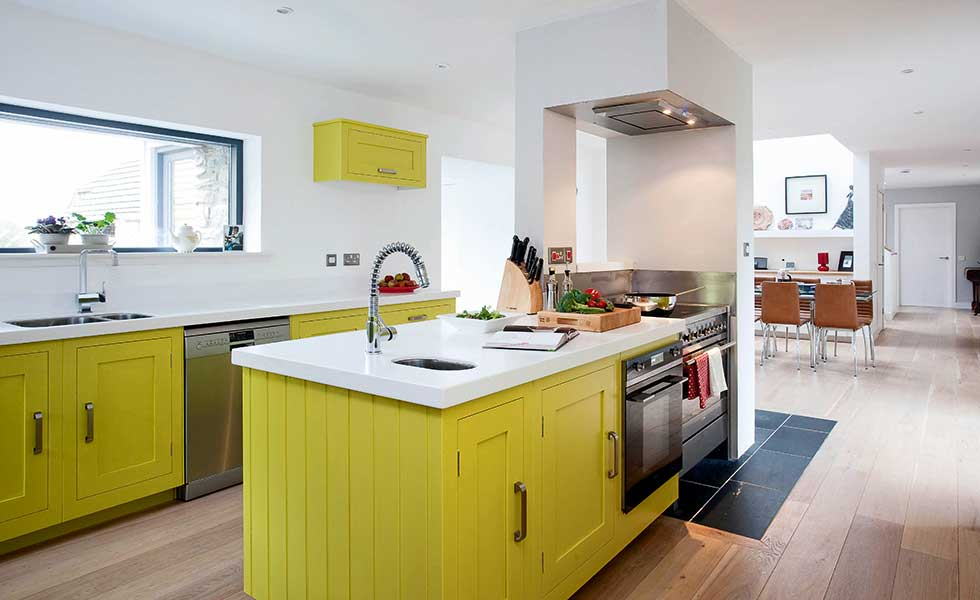 Harvey Jones yellow shaker style kitchen