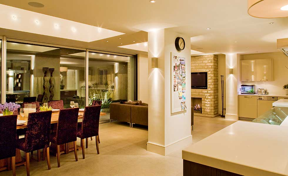 Kitchen Open Plan Lighting Scheme