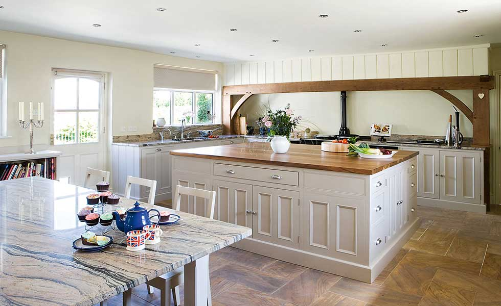 Kitchen island table extension - Hill Farm Furniture S Bespoke Hand Painted Kitchen From 163 25 000
