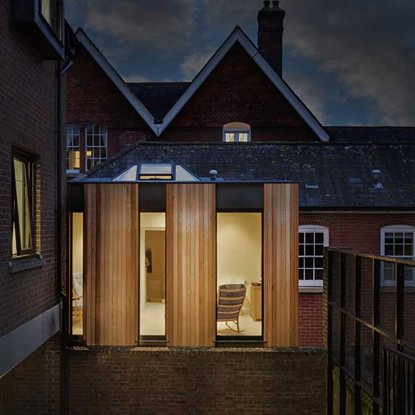 wooden panelled and glass modern extension