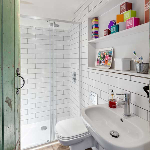 contemporary white shower room with traditional green door