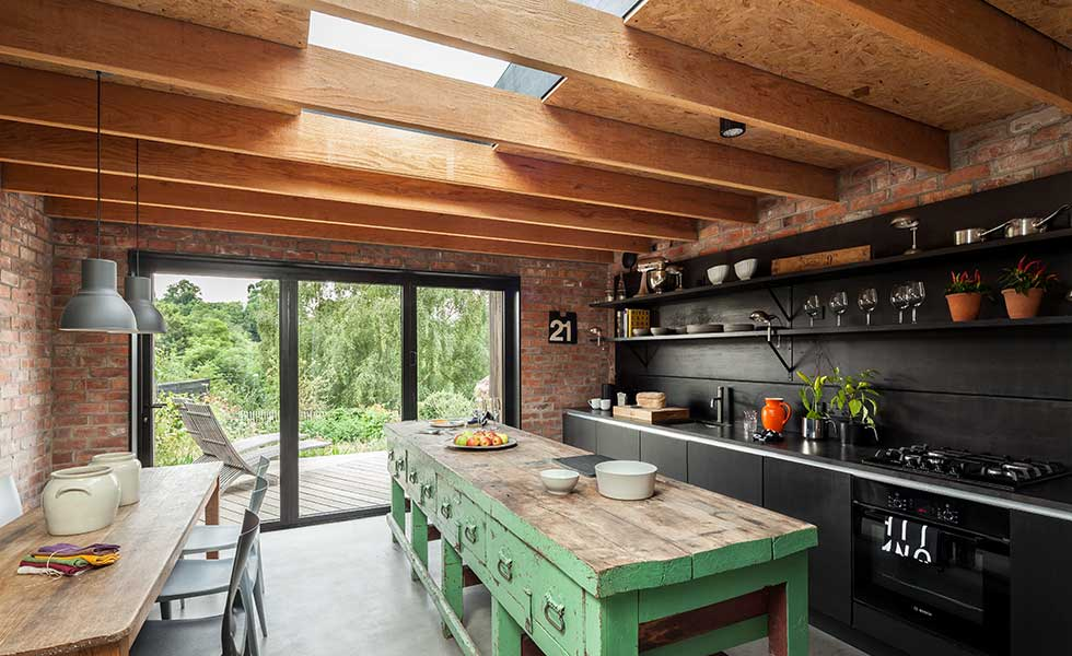 rustic kitchen with a mix of modern and traditional features