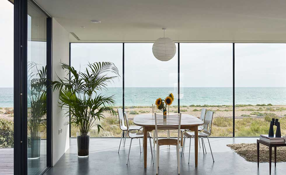 view from dining room of modern beachfront home