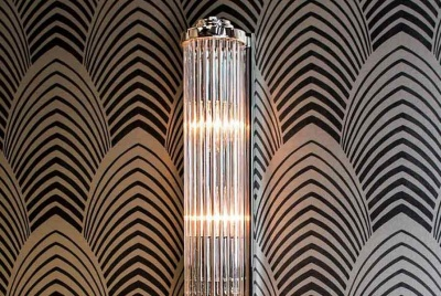 limehouse wall light art deco patterned wallpaper