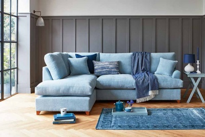 willow and hall sofa bed sky blue parquet floor