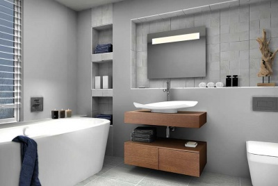 contemporary grey bathroom in passivhaus